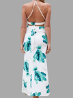 Feather Print Halter Crop Top and Maxi Skirt Co-ord