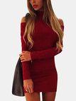 Casual High Neck Cold Shoulder Mini Dress in Burgundy