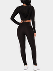 Black Hooded Bodycon Crop Top & Pant Two Piece Outfits