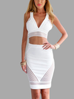 Plunge See-through V-neck Crop Top And  Midi Skirt Co-ord