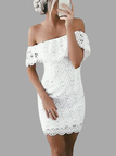 White Lace Off The Shoulder Short Sleeves Mini Dress
