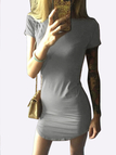 Sexy Grey Curved hem Bodycon Fit Dress With Short Sleeves