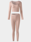 Active Round Neck High Waisted Knitted Tracksuit in Light Pink