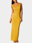 Yellow Scoop Neck Sleeveless Maxi Dress