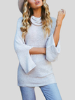 Grey Chimney Collar Slit Bell Sleeves Sweaters with Self Tie