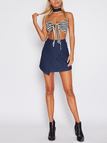 Stripe Knot no Front Bandeau Top of Navy