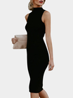 Black Crew Neck Sleeveless Ribbed Bodycon Midi Dress