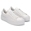 White Casual Leather Look Perforated Thick Platform Sneakers