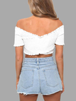 White Shirring Crossed Front Off Shoulder Crop Top
