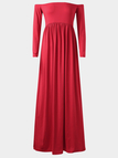 Off Shoulder High Elastic Maternity Photography Maxi Dress in Red