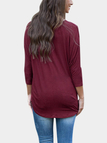 Loose Pocket Front Batwing-sleeved Blouse