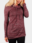 Burgundy Long Sleeves Strappy Pocket Front Blouse with High Neck