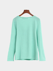 Green Casual Lace-up Long Sleeves T-shirt