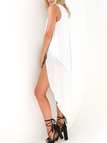 High Low Hem Back Split Chiffon Blouse in White
