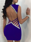 Blue Backless Design Stitching V-neck Sleeveless Sexy Dress