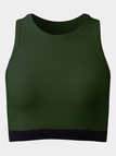 Active Round Neck Contrast Colors Elastic Vest in Green