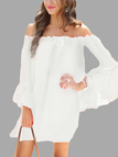 White Bateau Flared Sleeves See Through Chiffon Mini Dress with No Belt