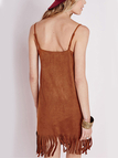 Cami Suede Dress with Fringed Trim