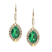 Green Jewel Drop Earrings with Fishhook
