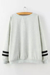 Sweatshirt With Print and Stripe Sleeves