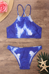 Blue Tie-dye High Neck Bikini Set