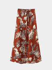Beach Floral Print Split Maxi Chiffon Skirt with Tie Waist