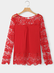 Red Floral Lace Pattern Stitching Chiffon Shirt