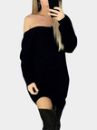 Black One shoulder Backless Sweater Dress