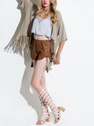 Light Khaki Hollow Out Cape with Tassel Hem