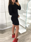 Black Round Neck Long Sleeve Fluffy Dress