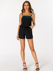 Black Printed Sleeveless Drawstring Waist Playsuit