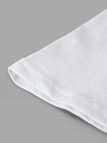 Active Letter Pattern Flared Sleeves T-shirts in White