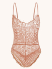 Pink Lace Details Strappy Hollow Design Sheer Eyelash Sexy Teddy