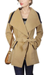Khaki Lapel Collar Self-tie Belt Trench Coat