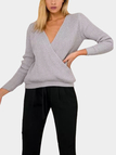 V-neck Wrap Front  Long Sleeves Jumper