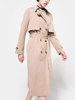 Kahki Classic A-line Silhouette Double Breasted Waist Tie Trench Coat