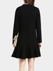Black Stand Collar Flounced Hem Dress