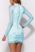 High Neck Lace Details Long Sleeves Mini Dress with Zip Back Fastening