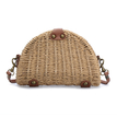 Brown Straw-woven Shoulder Bag With Flap Top