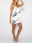 Random Floral Print Backless design Mini Dress