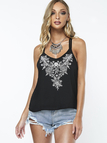 Black Loose Embroidery Design V Neck Cami