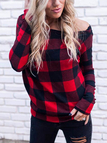 Black & Red Off-The-Shoulder Grid Top