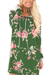 Green Random Floral Print Hoodie Long Sleeves Mini Dress