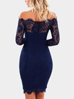 Navy Lace Details Off The Shoulder Long Sleeves Dress