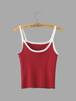 Dark Red Contrast Trim Ribbed Cami Top