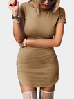 Brown Suede Round Neck Short Sleeves Curved Hem Mini Dress