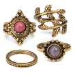 Vintage Style Bronze Carved Stone Leaves Patterns Ring Pack