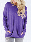 Purple Side Pockets Long Sleeves Loose T-shirt