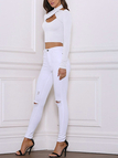 White Sexy Cross Halter Bodycon Velvet T-shirt