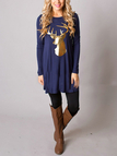 Navy Elk Print Round Neck Long Sleeves A-line Mini Dress